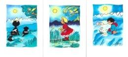 Lot De 3 Illustrations Signées Genny (Geneviève Lefèvre) - Cartes Doubles (Au Clair De Lune) - Illustrators & Photographers