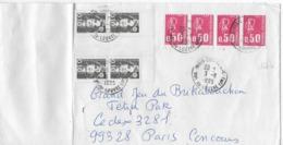 Enveloppe  Affranchissement Par Bloc De 4 X 0,50 C BEQUET Faux D'Aubervilliers Et 2 Paires 0,10 C Mariannne Bicentenaire - Curiosities: 1970-79 Covers & Documents