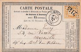 France Entier Postal Carte Précurseur Lyon 1875 - Biglietto Postale