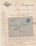 Yvert 140 Carnet Lettre Facture Entête Bouyssou  Loupiac Cantal  Cachet Ambulant Convoyeur Eygurande Aurillac 17/4/1921 - Marcofilie (Brieven)