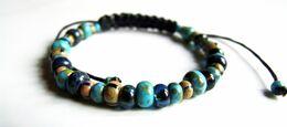 Bracelet Artisanal, Perles Verre Tchèque, Bleu Turquoise, à Superposer, Bracelet Réglable, Superbe Rendu, Travail Artisa - Bracelets