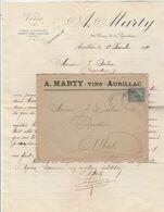 Yvert 130  Lettre Facture Entête Marty Vins Cachet Ambulant Convoyeur Aurillac à St Denis Près Martel 1/12/1919 - Marcofilie (Brieven)