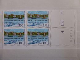 France.bloc De 4 Numéroté Du N° 3003 Anniversaire De L'accord Ramoge N**. - Unused Stamps