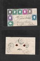 Macau. 1889 (4 March) GPO - Italy, Livorno (5 April) Via Hong Kong (5 March) - Brindisi (3 April) Registered Multifkd 2n - Macao