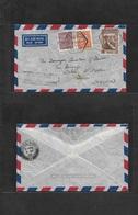 "Macau. 1948 (30 March) GPO - UK, Devon, Exton. Air Multifkd Envelope, Tied Hexagonal Ds + Air Cachet ""Par Avion / Hong K - Macao"