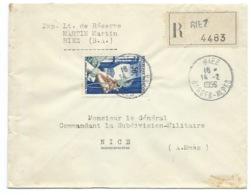 ENVELOPPE RECOMMANDEE / RIEZ  1956 POUR NICE - 1921-1960: Période Moderne