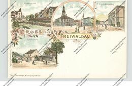 NIEDER-SCHLESIEN - FREIWALDAU / GOZDNICA, Lithographie, Weinhandlung Gröger, Rudolfsplatz, Elisabethstrasse... - Schlesien