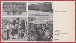 Wagon Poste. Vue Intérieur Et Extérieur D'un Wagon Ambulant De 1848, Et D'un Wagon Moderne. Larousse 1960. - Documents Historiques
