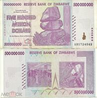 Zimbabwe 500000000 (Five Hundred Millions) Dollars 2008 VF+ Seria AA - Zimbabwe