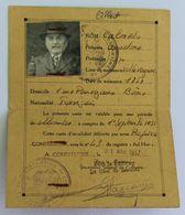 Ancienne Carte D'invalidité Cécité Canne Blanche Calmels Anselme Villeveyrac Rue Perregaux Bône Constantine 1952 - Zonder Classificatie