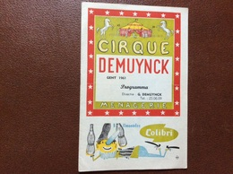 PROGRAMME CIRQUE  CIRQUE DEMUYNCK  Belgique  ANNÉE 1961 - Programmes