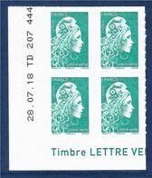Marianne L'Engagée 2018 Bloc X4 N°1598 Bas De Feuille Gauche TVP LV Neuf Type Adhésif Coin Daté 28.07.18 TD 207 444... - Nuovi