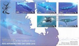 ROSS 2010 NEW ZEALAND MiNr. 119 - 123 Marine Life Whales 5v Signed FDC LIMITED EDITION - Dépendance De Ross (Nouvelle Zélande)