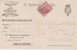 1916 71 BATTERIA D'ASSEDIO Capitano Goffarelli Stemma Con Collare A Destra Viaggiata - 1900-44 Victor Emmanuel III