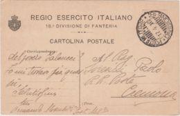 1916 18� DIVISIONE Di FANTERIA STEMMA A SINISTRA Viaggiata Posta Militare - 1900-44 Victor Emmanuel III