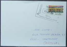 Spain - ATM Cover To Portugal 2011 Flowers Painting Franqueo Pagado - 2011-... Lettres
