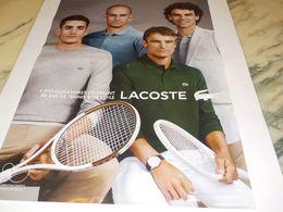 PUBLICITE  80 ANS DE TENNIS ET DE STYLE  LACOSTE   2013 - Tennis