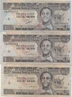 Ethiopie : 1 Birr 1989-92-98 : Bon état : Prix Par Billet - Etiopia