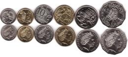 Australia - Set 6 Coins 5 10 20 50 Cents 1 2 Dollars 2000 - 2012 UNC Lemberg-Zp - Australie