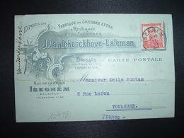 CP TP 10c OBL.17 VI 12 ISEGHEM FABRIQUE DE CHICOREE EXTRA J. VANDEKERCKHOVE - LALEMAN - 1912 Pellens