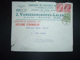 LETTRE TP 10c X2 + 5c OBL.11 IV 12 ISEGHEM + FABRIQUE DE CHICOREE EXTRA J. VANDEKERCKHOVE LALEMAN - 1912 Pellens