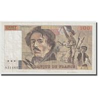 France, 100 Francs, Delacroix, 1991, TTB, Fayette:69bis.3a2, KM:154e - 1962-1997 ''Francs''