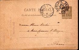 ENTIER POSTAL 1892 - TYPE SAGE - POSTE A MORLAIX - - Postal Stamped Stationery