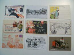 CPA / Lot De 9 Cartes Postales Anciennes Publicitaires /b - Reclame