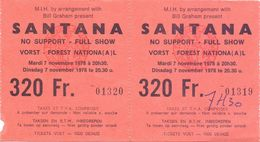 Ticket Toegangskaart - Santana - Vorst Forest National - 1978 - 2 Stuks - Tickets - Vouchers