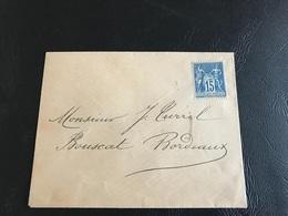 Enveloppe - 1885 ?  Pour BORDEAUX - Timbre 15c Sage Y&T N°90 - Non Oblitéré - Marcophilie (Lettres)