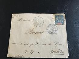 Enveloppe - 1899 - DAKAR Pour MACON Par BUENOS AYRES BORDEAUX  - Timbre 15c Sage SENEGAL Et DEPENDANCES - Marcophilie (Lettres)