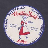 Ancienne étiquette Fromage Italie Exportation Royaume Uni Femme Puritan Maid - Kaas