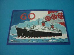 Carte Postale Illustrateur Patrick Hamm  Alsace 60eme Anniversaire Du Lancement Du Paquebot France N°1004 - Hamm