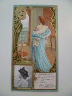 Image Cartonnée Gaufrée Publicité Art Nouveau LU / LEFEVRE UTILE / Personnages Célèbres / MARCELLE LENDER - Lu