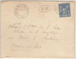 Loir Et Cher : 15c Sage O. T17 Chaumont-s-Tharonne 1878 + BM /ESC, 2 Amb. Au Verso - 1877-1920: Semi-moderne Periode