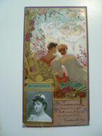 Image Cartonnée Gaufrée Publicité Art Nouveau LU / LEFEVRE UTILE / Personnages Célèbres / Mademoiselle SANDRINI - Lu
