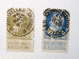 """Per. Car. 1. Perforé Perfin """" CF"""" Grosse Barbe N°75 Et 76. 1907 Et 1909, Bruxelles Effets De Ommerce - 1863-09"""