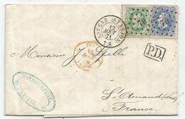 BELGIQUE 10C+20C LOSANGE PC 70 ANVERS STATION 12 AOUT 1871 LETTRE DEFAUT FRANCE - 1869-1883 Leopold II