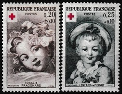 Série De 2 T.-P. Neufs** - Croix-Rouge Rosalie Fragonard L'Enfant En Pierrot - N° 1366-1367 (Yvert) - France 1962 - Ungebraucht