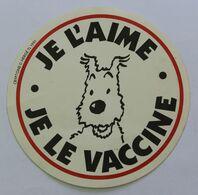 Autocollant Tintin Et Milou Je L'aime Je Le Vaccine Cryptone 1991 Hergé TL - Stickers