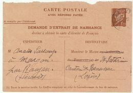 Hérault, CP Entier 1F20 Demande Extrait De Naissance O. Roujan 1943 - 1921-1960: Période Moderne