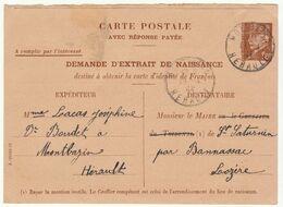 Hérault, CP Entier 1F20 Demande Extrait De Naissance O. Montbazin  1944 - 1921-1960: Modern Tijdperk