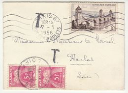 Mignonette Insuf. Affranchie 12F OMEC Paris, Taxe 5F X 2 Maclas (Loire) 1956 - Postmark Collection (Covers)