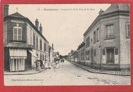 CPA: Maintenon  (Eure Et Loir) Perspective De La Rue De La Gare - Boucherie - Editeur Rousseau 13 - Maintenon