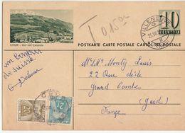 Entier CP 10c Suisse, Taxé 22F Cad Horoplan La Grand Combe (Gard) 1951 - 1921-1960: Modern Tijdperk