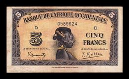 French West Africa Occidental Francesa 5 Francs 1942 Pick 28a MBC VF - Altri – Africa