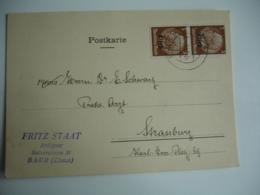 Guerre 39.45 Carte Commercial Stat Antiquaire Oblietration  Baar  Sur Lettre Timbre Surcharge Els - 1921-1960: Modern Period