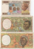 Lot De 3 Billets De L'Afrique Centrale 500 + 1000 + 2000 Francs (mauvais état) - Bankbiljetten