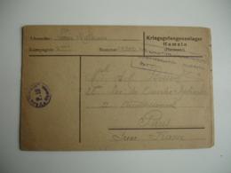 Hameln Lot 2 Lettre Censure Camp De Prisonnier Prisonniers - Guerre De 1914-18