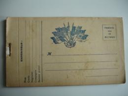 Carnet 21  Carte Franchise Postale Militaire Guerre 14.18  Impression Bleue  7 Drapeau Centre - Postmark Collection (Covers)